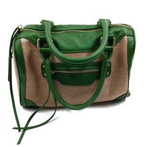 Aldo Green Trim Straw Satchel